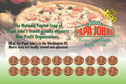 Papa Johns pizza fundraiser discount card