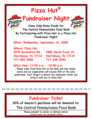 Pizza Hut pizza night flyer
