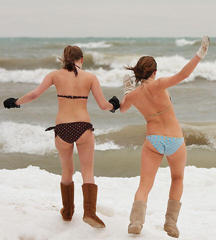 Polar bear plunge bikini girls