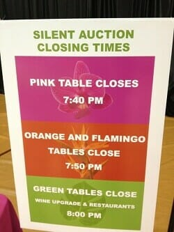 Silent auction closing times