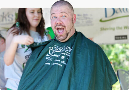 Shaved head fundraiser for cancer research
