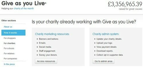 Fundraising Online: GiveAsYouLive.com