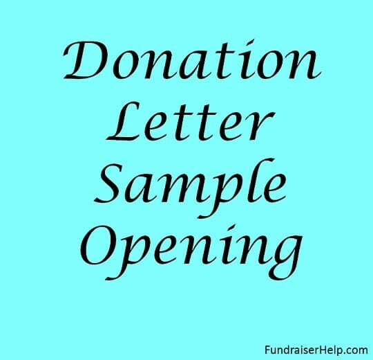 Donation Letter Sample Opening